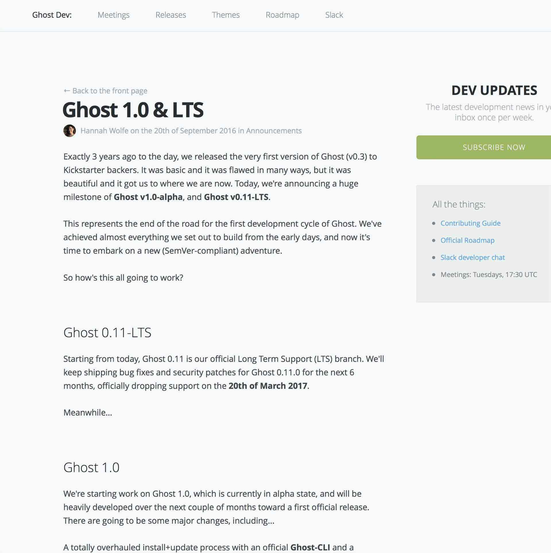 Ghost0.11 LSTそしてGhost1.0へ